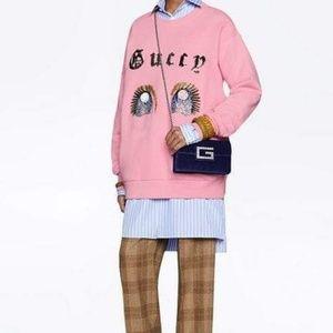 NWT Gucci Small Broadway Velvet Crossbody Bag Blue